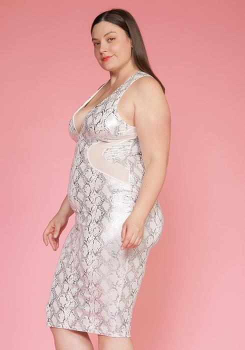 Asoph Plus Size Metallic Snake Print Dress