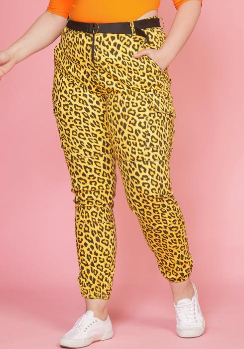Asoph Plus Size Leopard Print Elastic Cuffed Pants