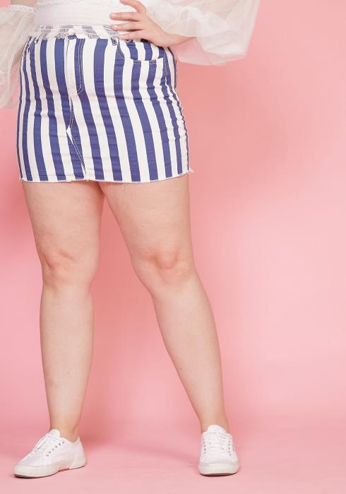 Asoph Plus Size High Waisted Stripe Skirt