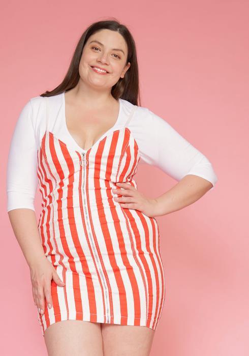 Asoph Plus Size Zip Up Stripe Tank Denim Dress