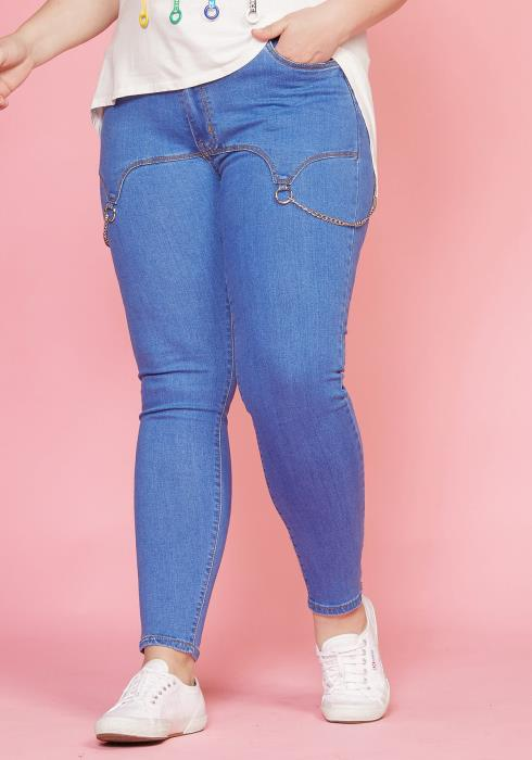 Asoph Plus Size Skinny Jean With Chain
