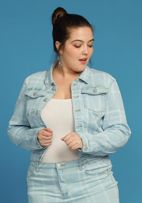 Asoph Plus Size Checkered Denim Button Up Jacket