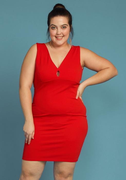 Asoph Plus Size Lace Back Sleeveless Party Dress