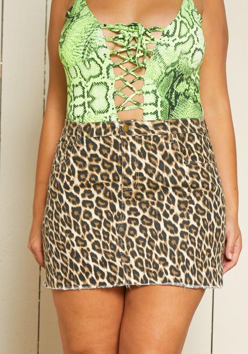 Asoph Plus Size Leopard Print Mini Denim Skirt