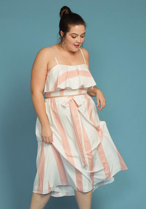 Asoph Plus Size Summer Stripe Dress Two Piece Set