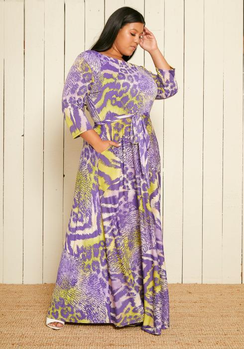 Asoph Plus Size Multi Leopard Print Maxi Dress