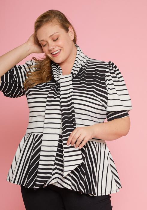 Asoph Plus Size Puff Shoulder Sleeve Stripe Blouse