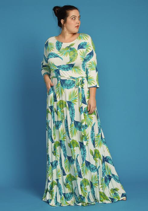 Plus Size Leaf Print Flare Maxi Dress