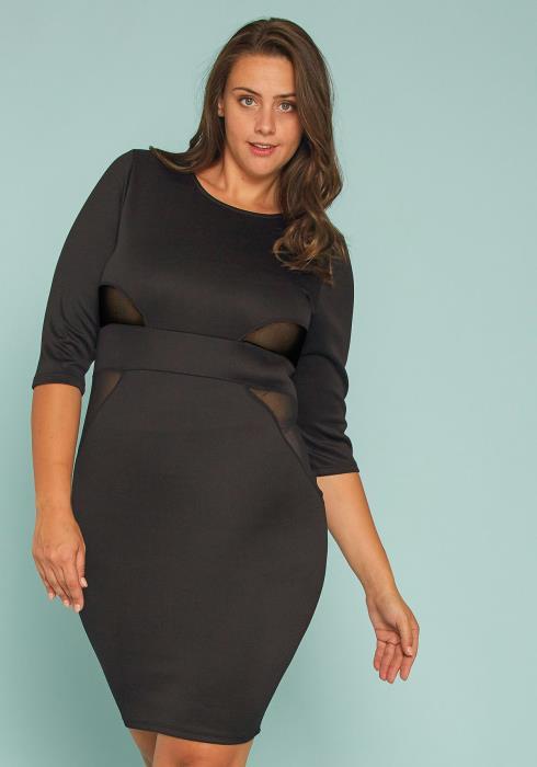 Asoph Plus Size Mesh Inset Bodycon Dress