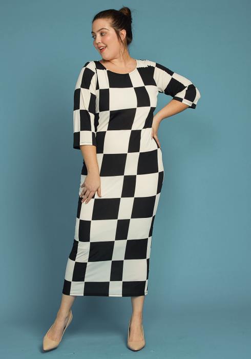 bdd0475aca0 Asoph Plus Size Black White Checkered Bodycon Dress
