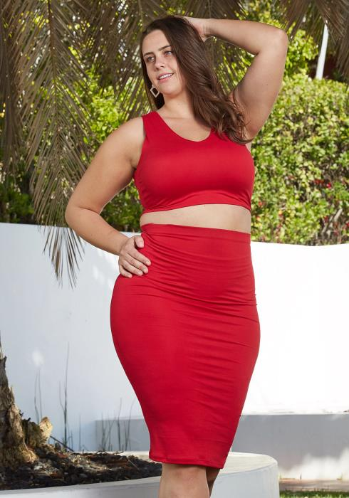 Asoph Plus Size Sleeveless Crop Top & Midi Skirt Set
