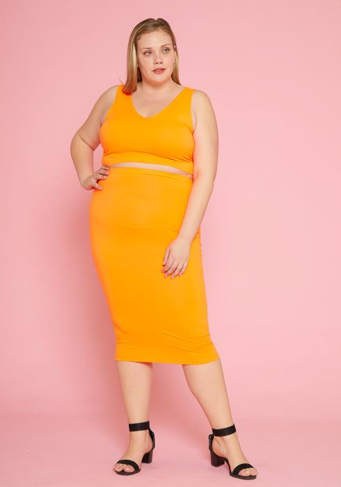 Asoph Plus Size Sleeveless Crop Top & Midi Skirt Set