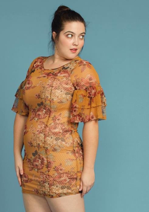Asoph Plus Size Floral Mesh Ruffle Dress