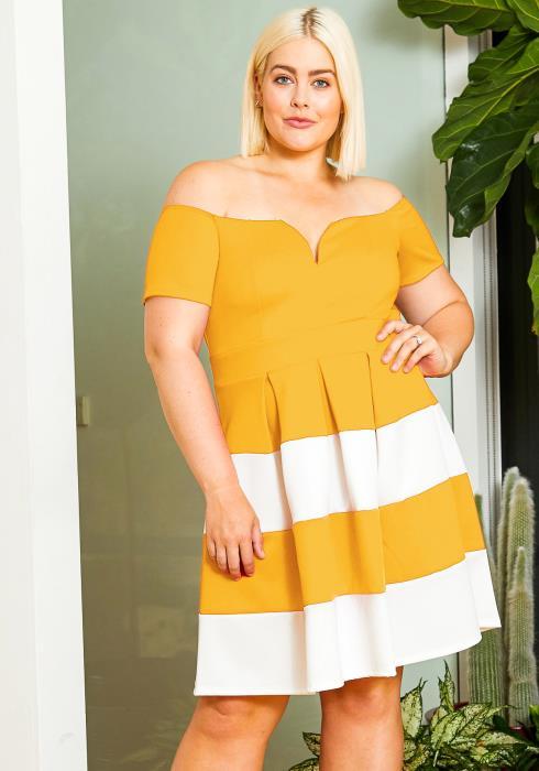 Asoph Plus Size Off Shoulder Stripe Fit Flare Dress