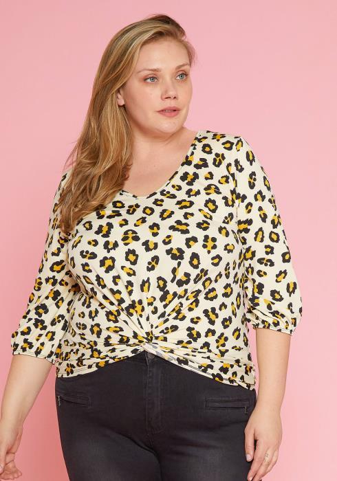 Asoph Plus Size Cheetah Print Blouse