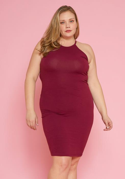 Asoph Plus Size Halter Neck Basic Bodycon Dress