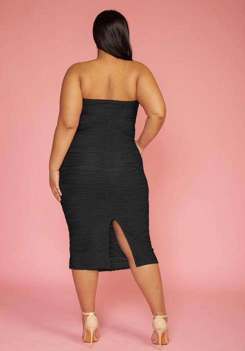 Plus Size Textured Tube Top Bodycon Midi Dress