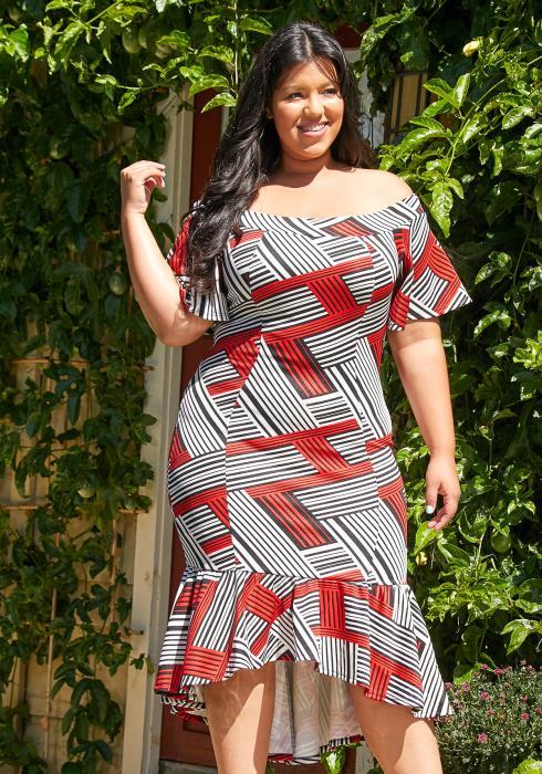Asoph Plus Size Off Shoulder Mermaid Dress