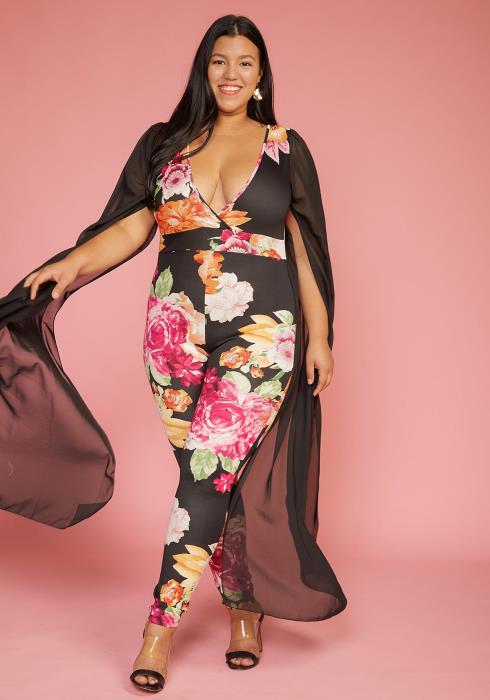 Asoph Plus Size Chiffon Long Cape Sleeve Floral Jumpsuit