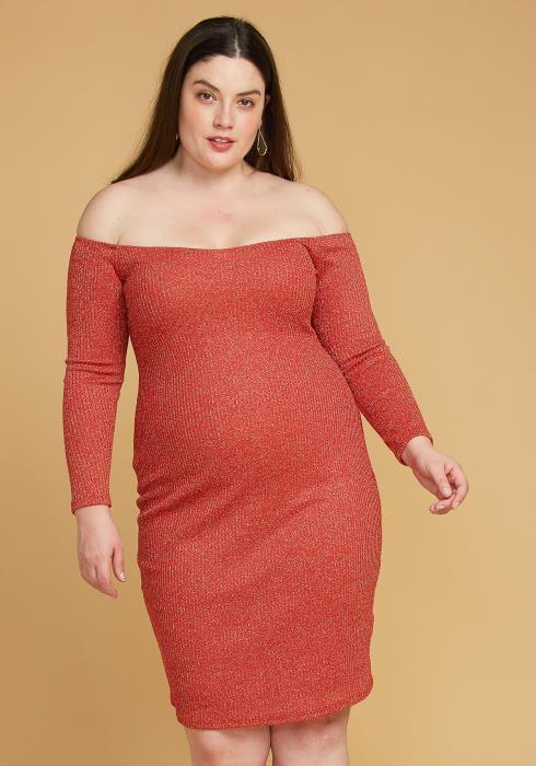 Plus Size Lurex Off Shoulder Bodycon Dress