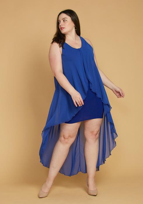 Asoph Plus Size Hi-Lo Chiffon Sleeveless Dress