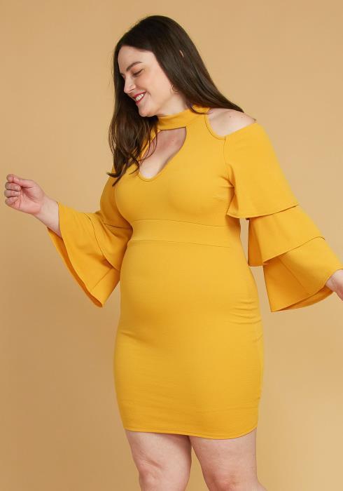 Plus Size Shoulder Cutout Layered Ruffle Sleeve Dress