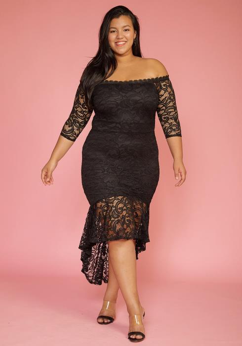 Asoph Plus Size Off Shoulder Hi-Lo Lace Dress
