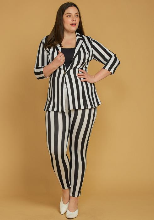 Asoph Plus Size Vertical Stripe Blazer & Pants Set