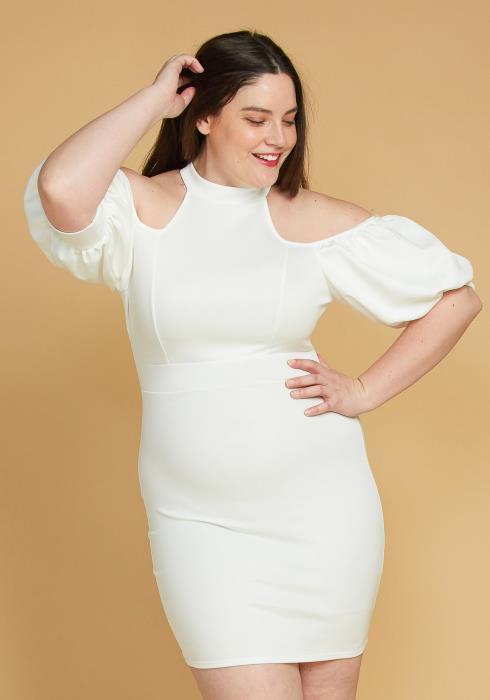 Asoph Plus Size Shoulder Cutout Puff Sleeve Dress