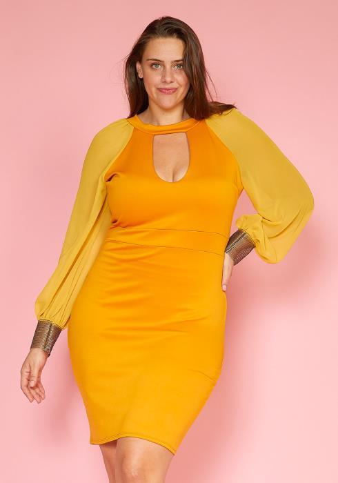 Plus Size Gold Cuffed Chiffon Sleeve Bodycon Dress