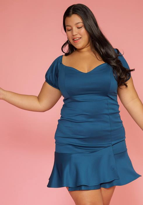 Asoph Plus Size Sweetheart Ruffle Hem Dress