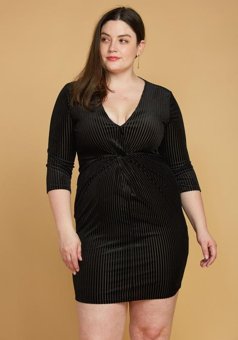 Asoph Plus Size Ribbed Velvet Twist Front Dress