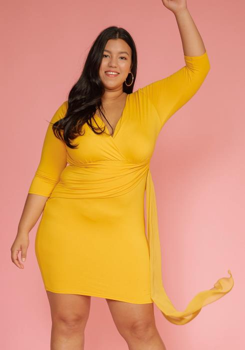 Plus Size Chiffon Scarf Party Dress