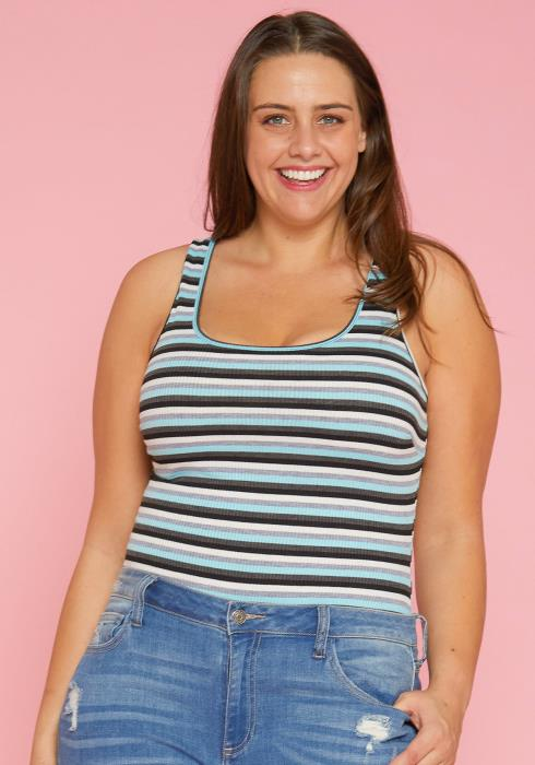 Asoph Plus Size Stripe Tank Top