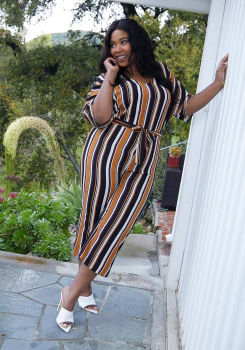 Asoph Plus Size Stripe Cropped Jumpsuit