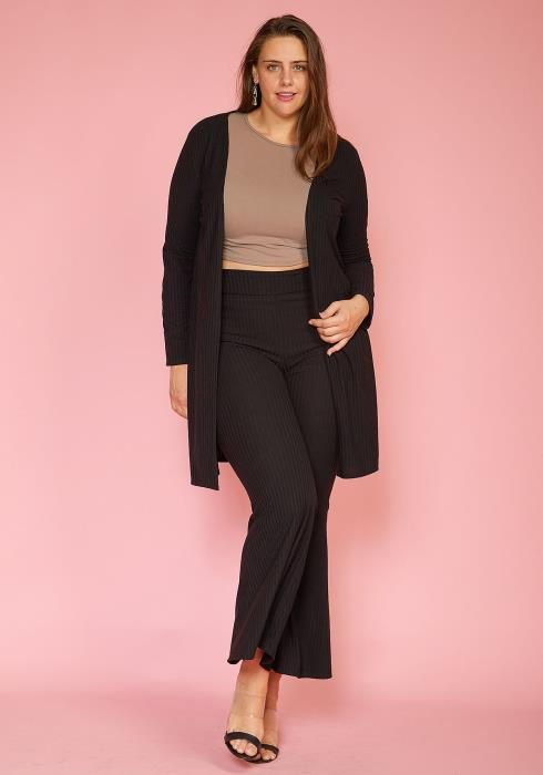 Asoph Plus Size Ribbed Cardigan & Flare Pants Set