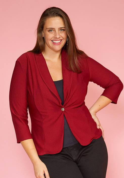 Asoph Plus Size Single Button Basic Blazer