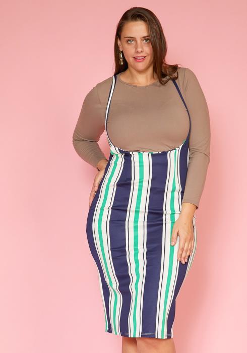 27d37be8d98b04 Asoph Plus Size Stripe Suspender Midi Skirt