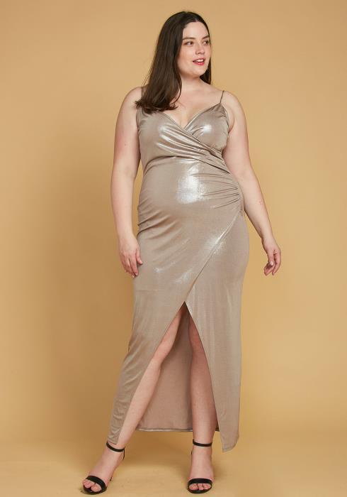 Asoph Plus Size Dazzling Wrap Maxi Evening Dress