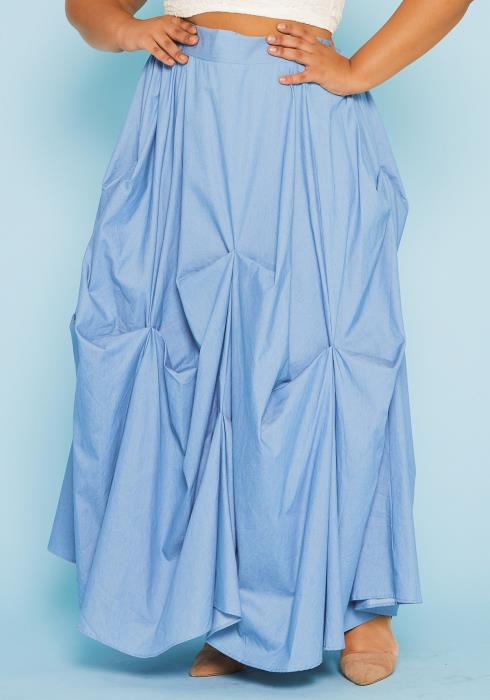 Asoph Plus Size Denim Maxi Skirt