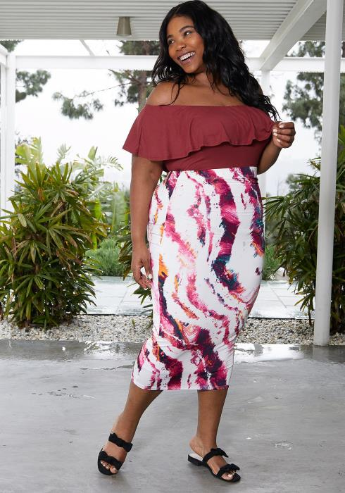 Asoph Plus Size Abstract Print Skirt