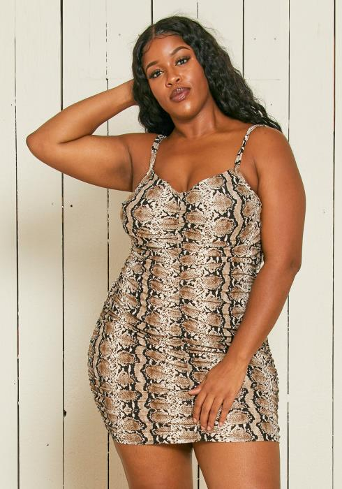 Asoph Plus Size Leopard Print Spaghetti Strap Bodycon Dress