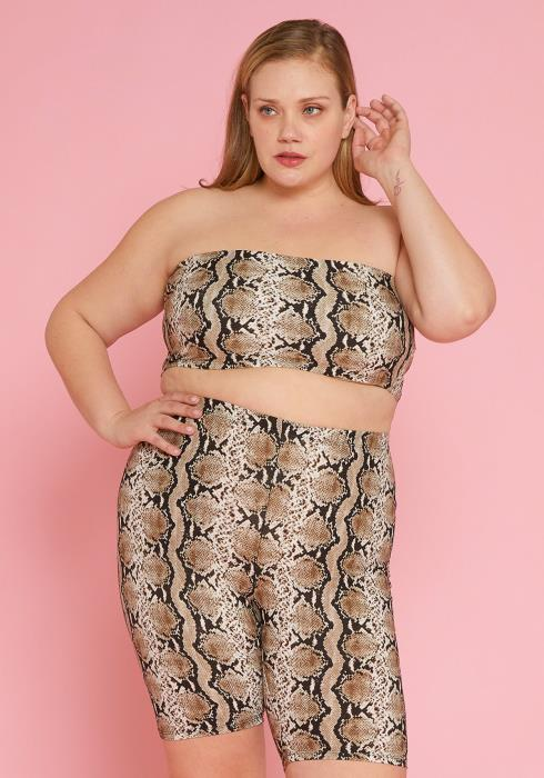 Asoph Plus Size Snake Print Tube Top Crop & Pant Set