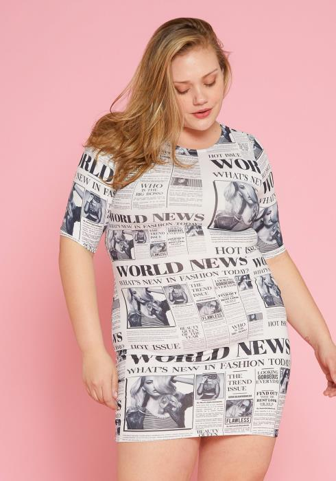 Asoph Plus Size Raglan Sleeve Media Print Dress
