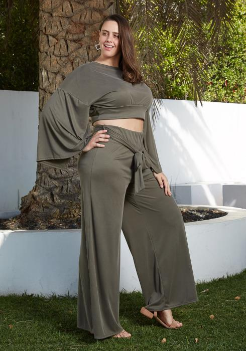 Asoph Plus Size Crop Top & Wide Leg Pant Set