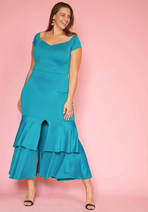 Asoph Plus Size Layered Ruffle Slit Hem Maxi Dress