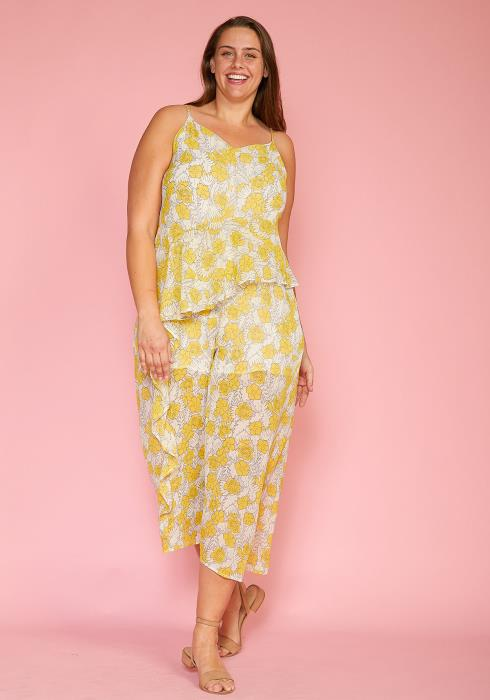 Asoph Plus Size Spring Floral Chiffon Jumpsuit