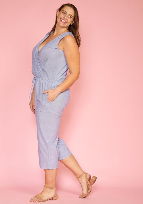 Asoph Plus Size Sleeveless Striped Jumpsuit