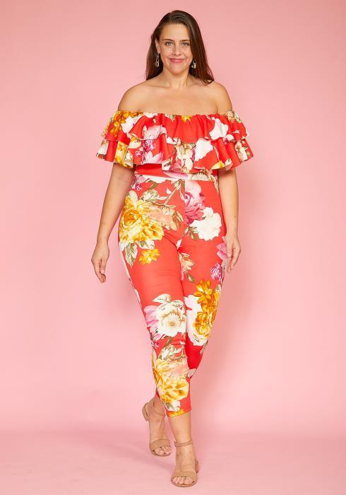 Asoph Plus Size Floral Ruffle Jumpsuit