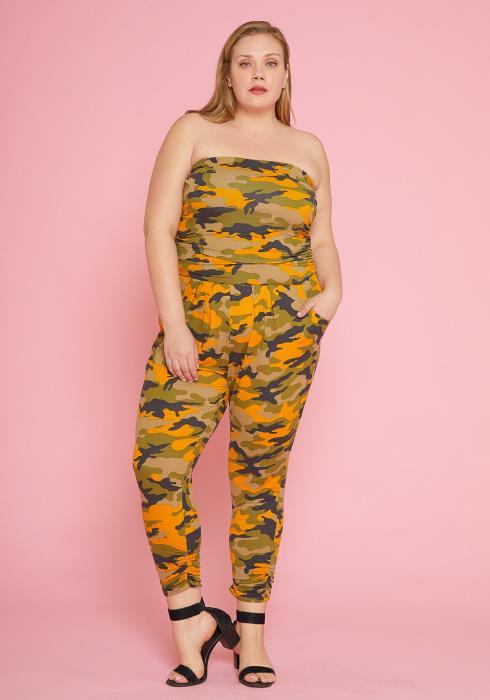 Asoph Plus Size Sleeveless Camo Print Jumpsuit